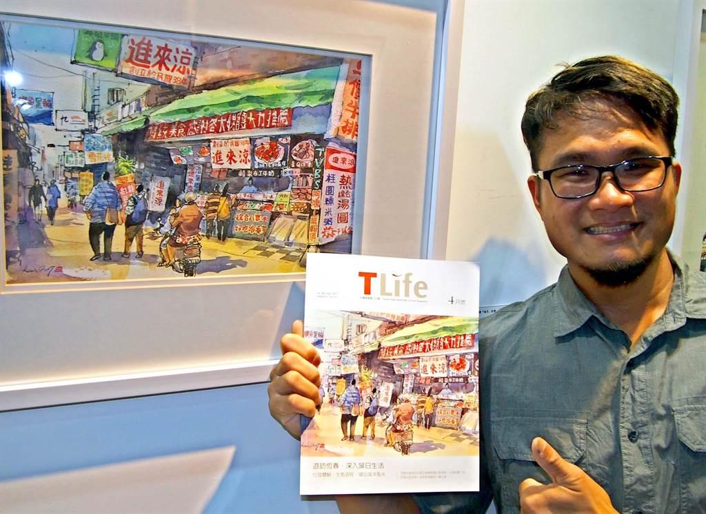 屏東畫家鄭開翔描繪屏東夜市「進來涼」的畫作,登上最新一期的高鐵雜誌。(潘建志攝)