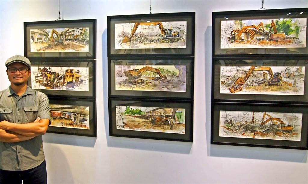 屏東畫家鄭開翔舉辦「城市.即景」個展,作品之一為鐵路高架化拆除仁愛路貓洞,一天畫1張共畫了10張,成為最佳的「縮時繪畫」紀錄。(潘建志攝)