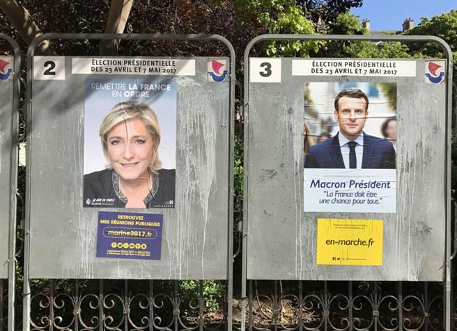 法國總統大選採直接普選兩輪投票制,目的是確保總統以絕對多數當選。圖為今年最有可能進入第2輪的候選人,分別為中間派馬克宏(右)和極右派瑪琳.雷朋。(中央社)