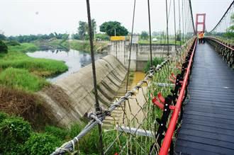 觀光吊橋旁的他里霧埤 水黑魚死惡臭飄