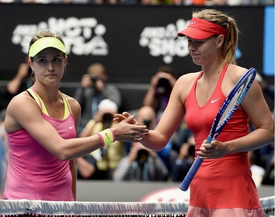 布夏(左)與莎拉波娃(右)馬德里網賽次輪將碰頭。(美聯社資料照)
