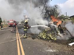 疑閃避機車 轎車衝撞圍牆釀火燒車