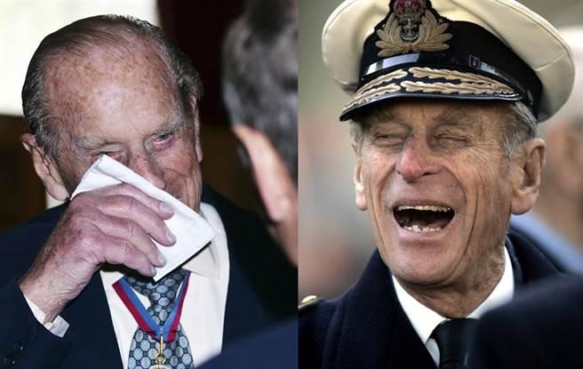 (左)英國菲立普親王4日宣布退休不免感傷,但還是忍不住要拿來開開玩笑。圖為他在聖詹姆士宮的皇家教堂,出席功績勳章(Order of Merit)得主的活動後發表談話,並拿手帕擦臉。(右)菲立普親王2006年11月9日與老兵談笑的神情。(圖/美聯社)