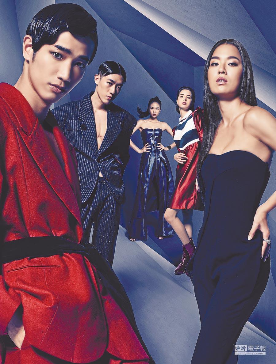 劉以豪(左起)、鄭宇倫、陳詠芯、金凱德與王麗雅為第6屆伊林璀璨之星選拔賽拍形象照。