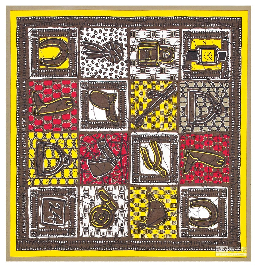 HERMES Le Boubou H圖紋印花棉質方巾65公分,6800元。