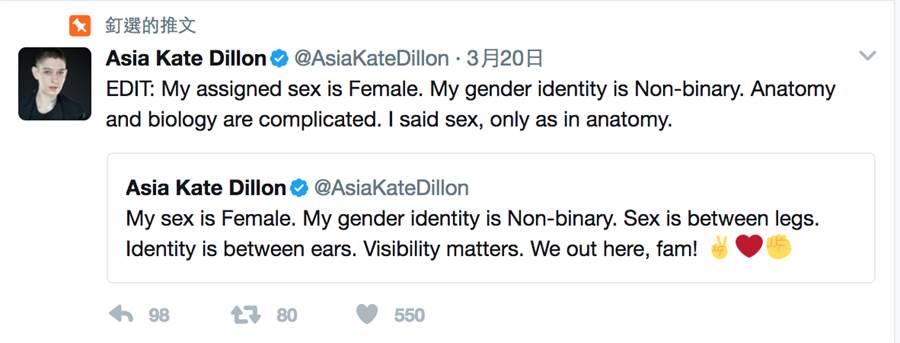 一點開凱特狄倫的twitter,就會立刻看到他的「性別中立聲明」。(圖/twitter@katedillion)