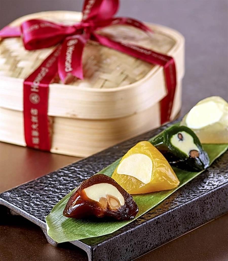 台北福華〈Q粽禮盒〉,內有荔枝玫瑰、黑糖夏威夷果仁、抹茶黑豆,以及百香芒果等不同口味冰粽,每顆80元。(圖/台北福華飯店)