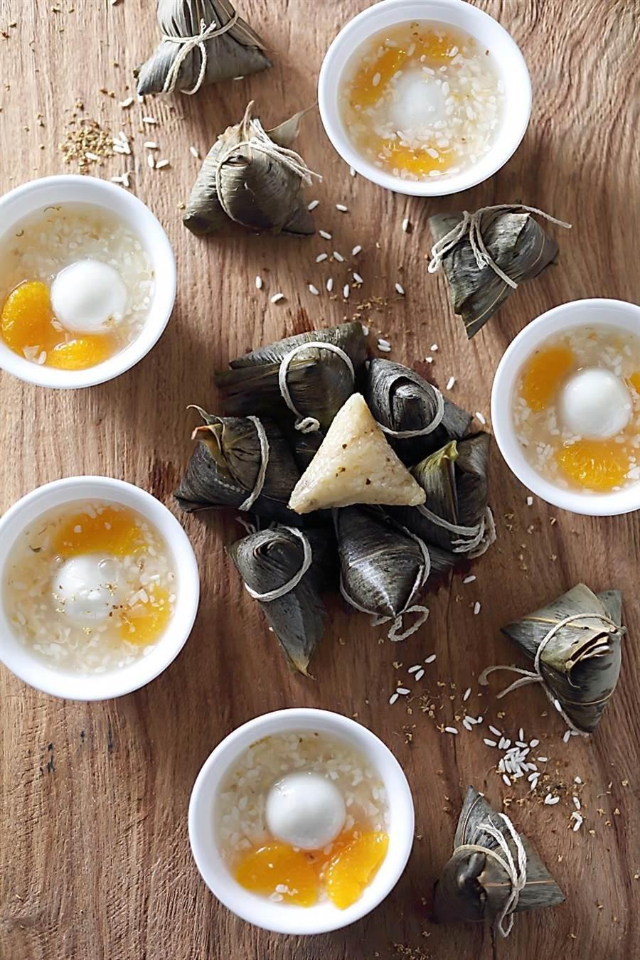 麗緻餐飲今年推出的〈一口粽禮盒〉中,最特別的是天香樓主廚設計的〈酒釀湯圓粽〉。(圖/麗緻餐旅集團)