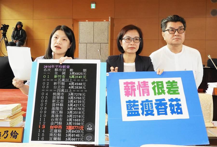 市議員張廖乃綸(左)說,台中市民薪情很差、藍瘦香菇!(陳世宗攝)