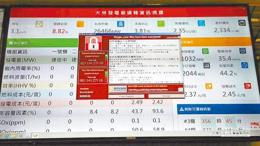 台電779台電腦中毒,大林電廠的運轉資訊顯示幕跳出勒索病毒畫面。(台電提供)