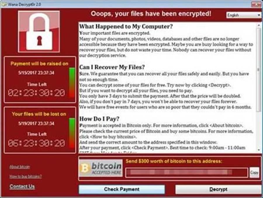 電腦遭勒索病毒「WannaCry」攻擊時會跳出的視窗。(圖/趨勢科技)