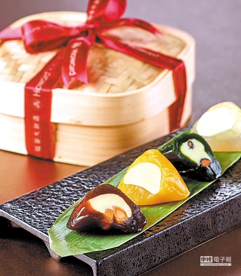 台北福華〈Q粽禮盒〉,內有荔枝玫瑰、黑糖夏威夷果仁、抹茶黑豆,以及百香芒果等不同口味冰粽,每顆80元。圖/台北福華飯店