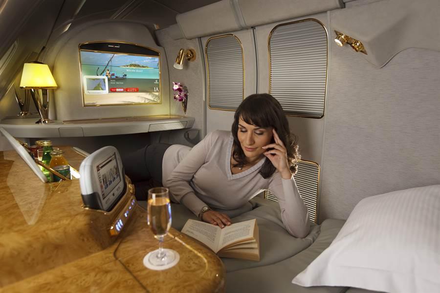 阿聯酋航空頭等艙私人套房。圖:業者提供