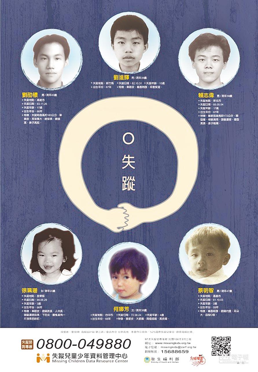 兒福聯盟每年會發布4張協尋海報,希望民眾能幫忙找到失蹤兒童,但效果有限,其中海報中的蔡明智已失蹤長達45年。(林郁平翻攝)