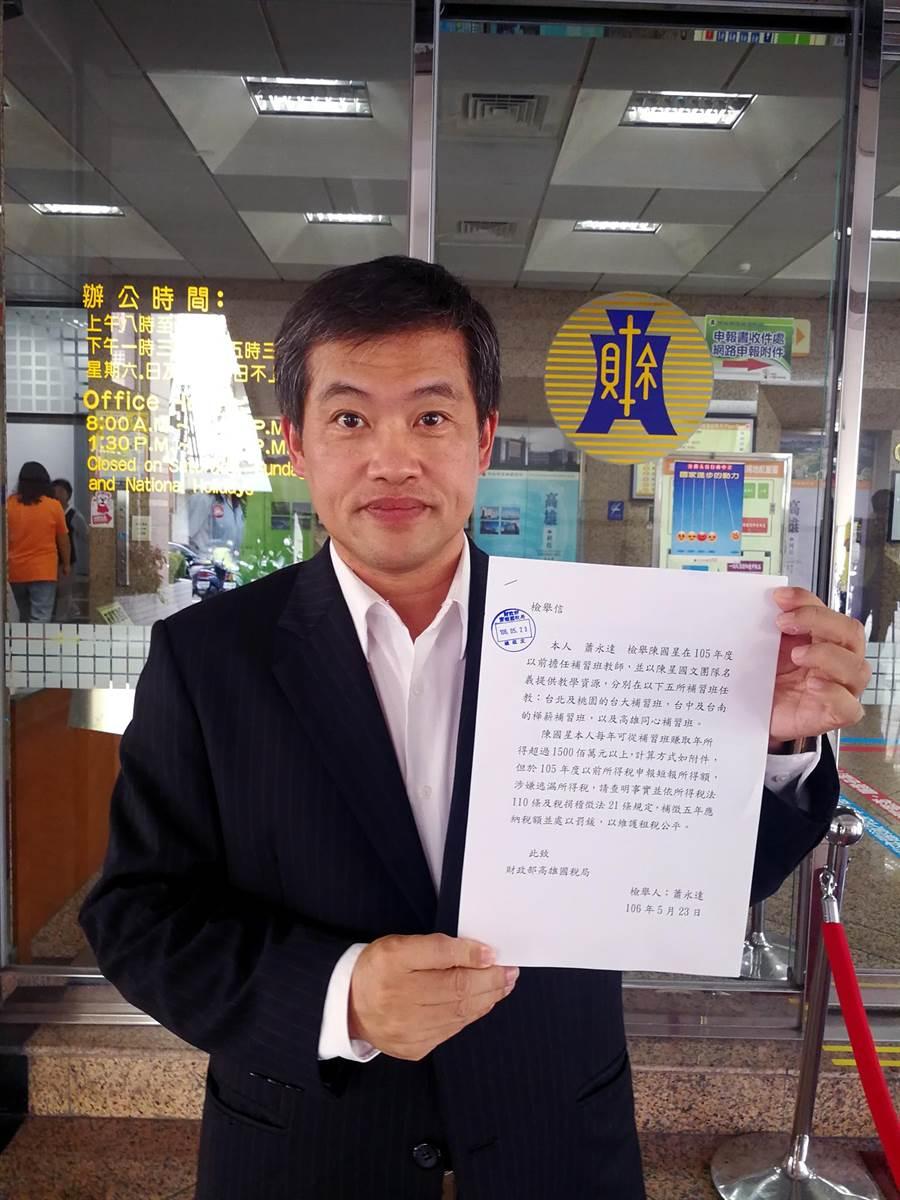 高雄市議員蕭永達,到高雄國稅局檢舉陳星逃漏稅。(李義攝)