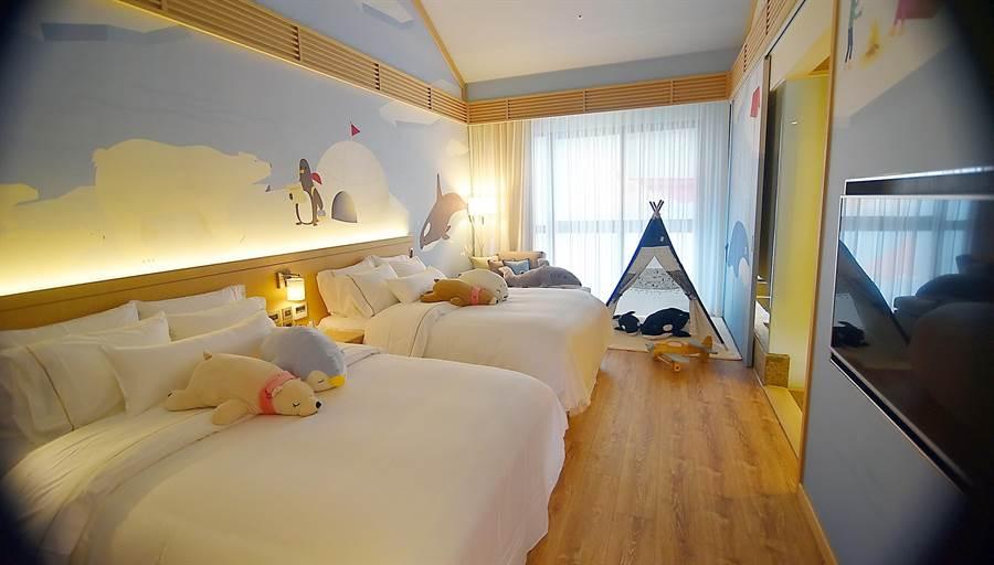 〈宜蘭力麗威斯汀〉規畫有多間新子主題房,讓親子家庭可以愉快享受假期。(圖/姚舜攝)