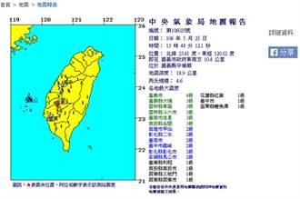 連6震!嘉義中埔13:48發生規模4.6地震