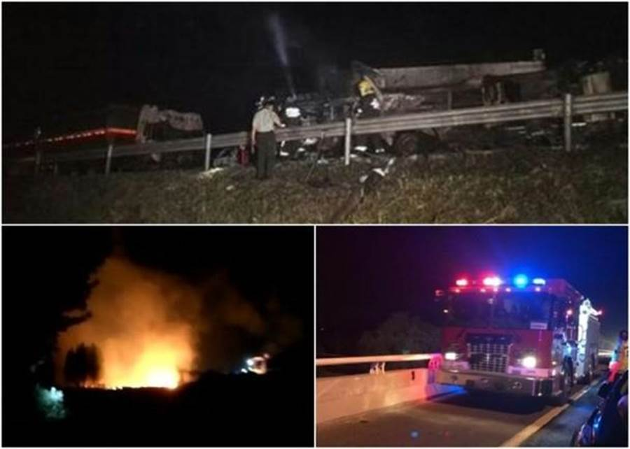 中國京台高速公路傳出油罐車爆炸意外,官方說法為1死21傷。(圖摘自東網)
