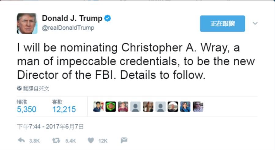 川普推特再發文宣布將提名新的聯邦調查局局長人選。(圖/川普推特截圖)