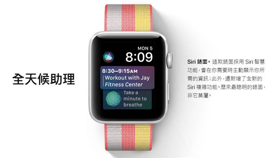 watchOS 4將為果粉帶來全新的Siri智慧錶面。然而,如果手機仍是iPhone 5與iPhone 5c的使用者,可能面臨需要換手機的壓力。(圖/翻攝蘋果官網)