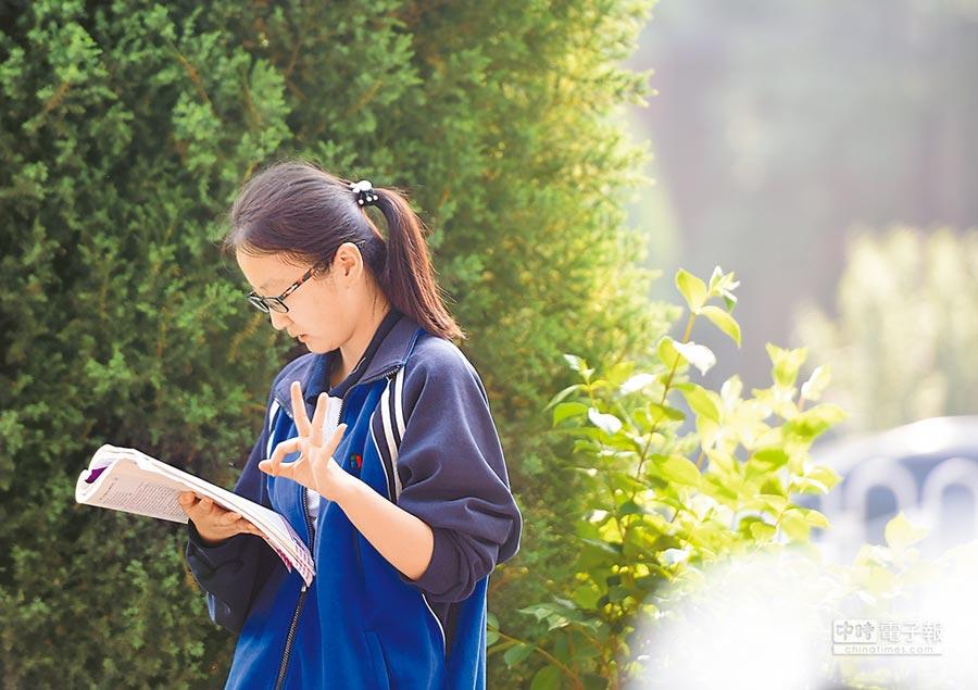 北京考生做最後複習,準備進入考場。(中新社)