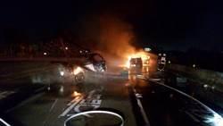 彰化員大排福興段兩車追撞火燒車 1人命危