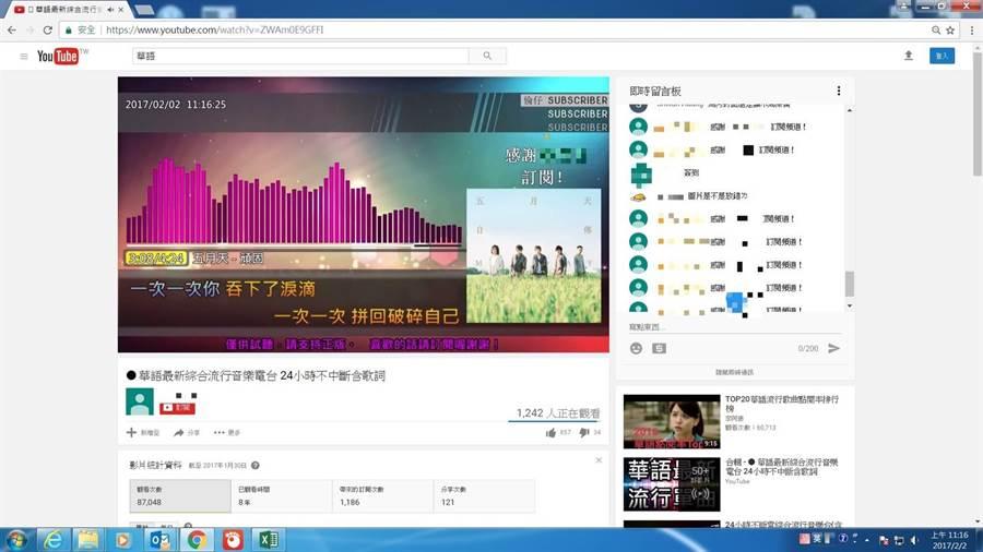 兔頭哥在影音平台設立的音樂直播頻道,被唱片公司提告違反著作權法。(摘自網路)