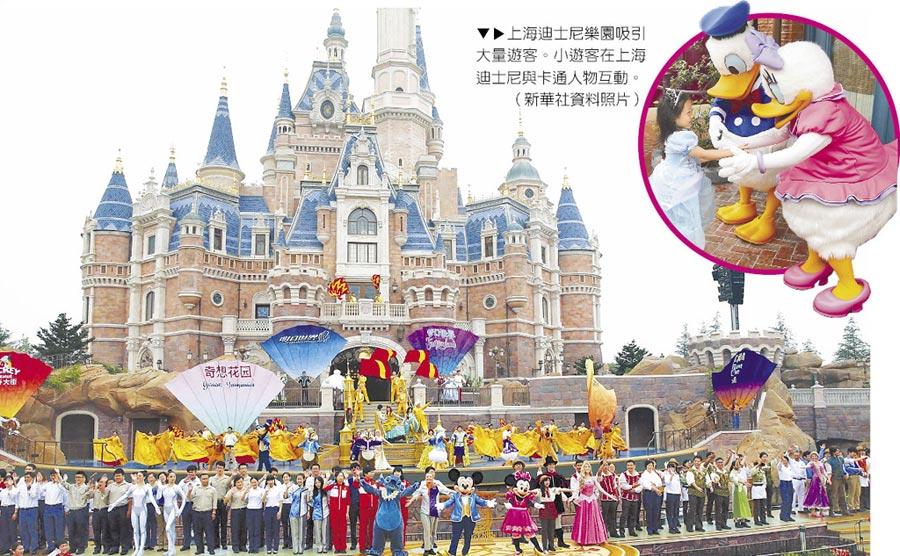 上海迪士尼樂園吸引大量遊客。小遊客在上海迪士尼與卡通人物互動。(新華社資料照片)