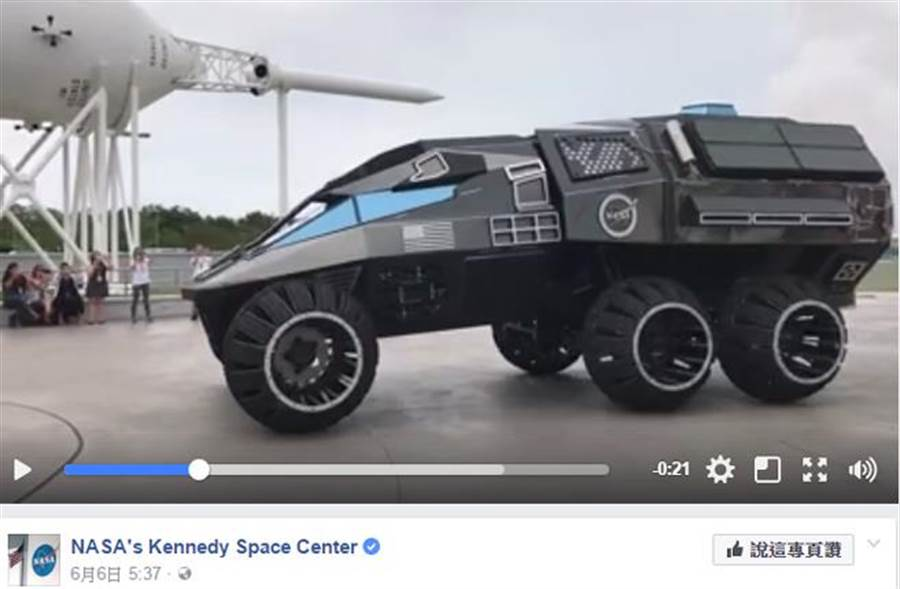 NASA最新火星探測概念車,外型像極了蝙蝠車。(擷自NASA's Kennedy Space Center臉書)