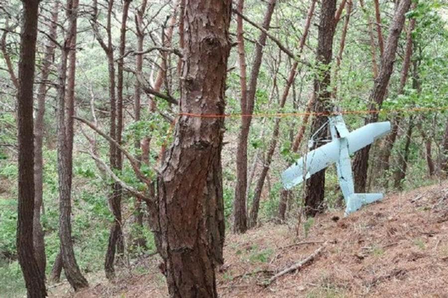 韓國前幾天在接近北韓地帶的森林裡發現不名無人機,確實是北韓的偵察機,並取出了照片。(圖/詹氏防衛)