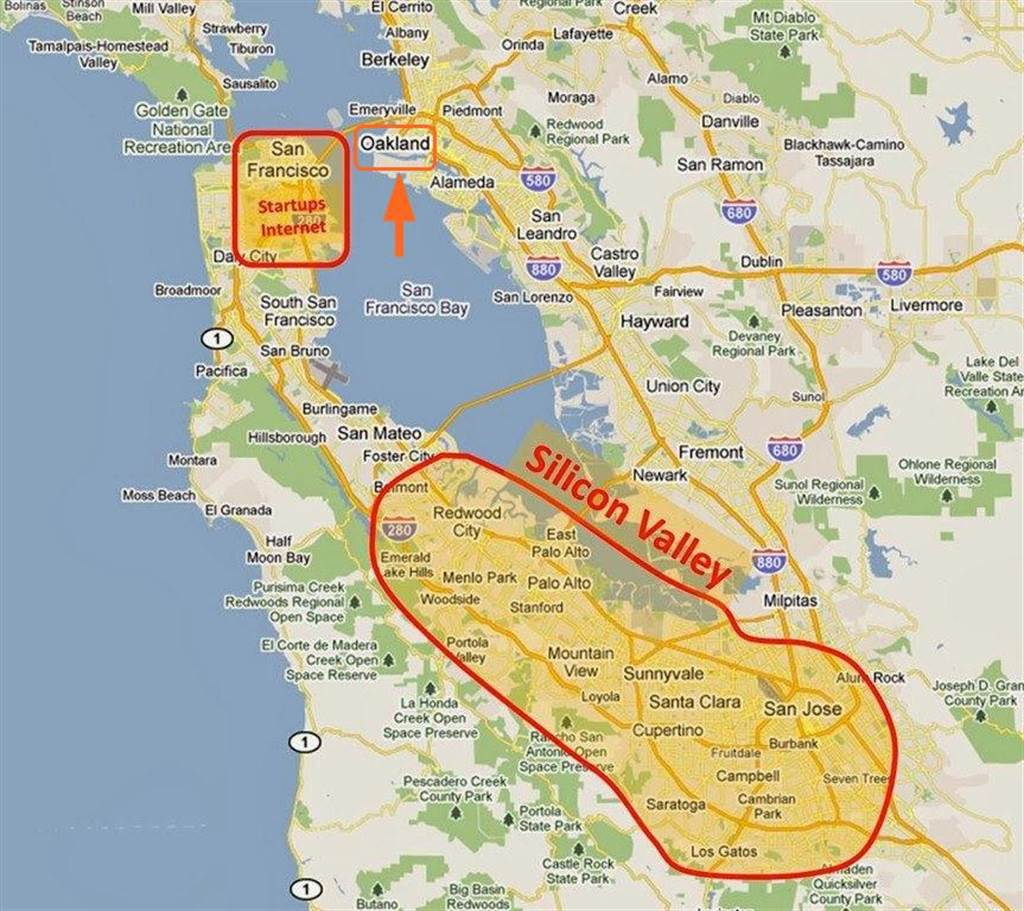 矽谷地理位置。(圖/翻攝Flickr/Nathan Hughes Hamilton,編輯再製(標註奧克蘭所在位置))