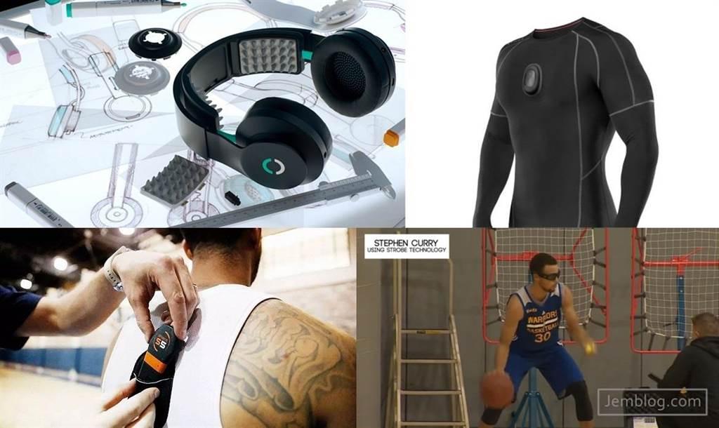 由左至右、由上至下依序是Halo Neuroscience耳機、Athos運動壓力衣、Catapult Sports監測器,還有柯瑞透過感測眼鏡來訓練的影片截圖。(圖/翻攝New Yorker、Athos官網、Catapult官網以及YouTube)