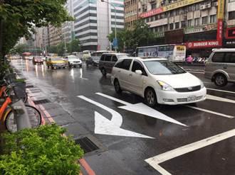 直行右轉標線分家 引導用路人分流行駛