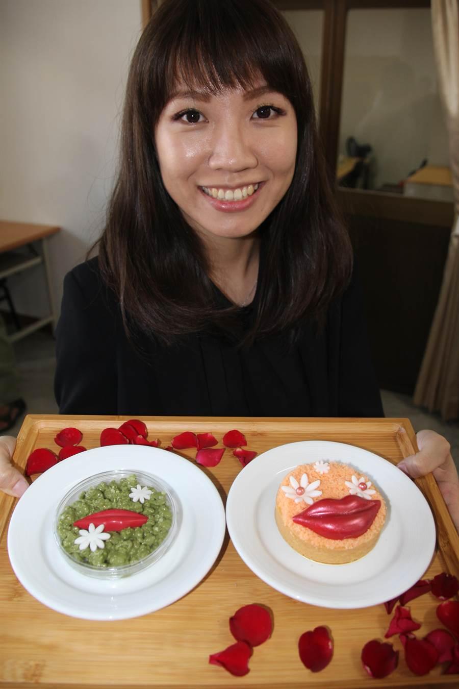 業者設計兩款月老甜品,右邊為法式檸檬乳酪、左邊為厚唇餅乾。(程炳璋攝)