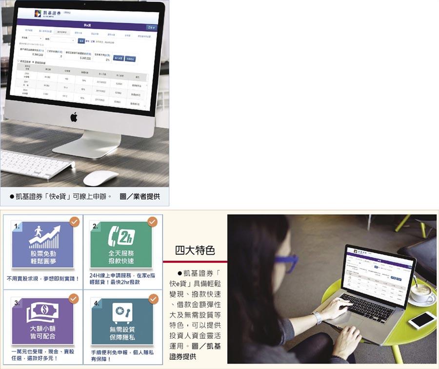 凱基證券「快e貸」可線上申辦。 圖/業者提供