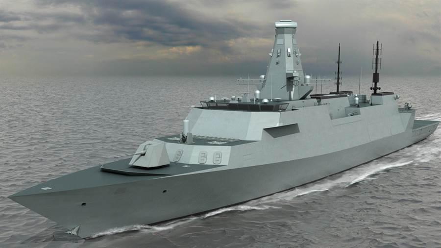 英國皇家海軍26型反潛護衛艦的示意圖。(圖/BAE Systems)