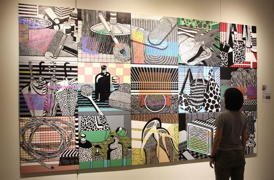 葉乃瑋壓克力顏料畫作《日常物件》獲評審團獎。(港區藝術中心提供)