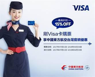 刷Visa卡享中國東方航空台灣官網購票優惠最高85折!