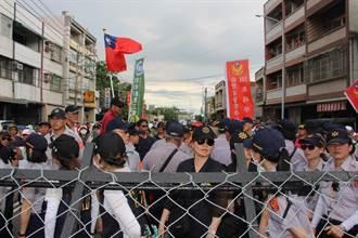 蔡英文訪角宿天后宮 維安人員比陳抗民眾多