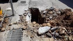 台電工程挖到瓦斯管線 湖口鄉德興路瓦斯外洩
