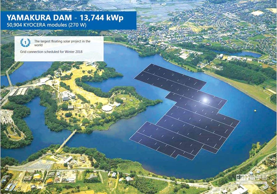 C&T在千葉縣山倉水庫新完成的日本最大併聯發電量13.74MWp發電廠。圖/業者提供