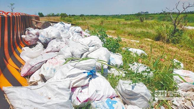 水利署第七河川局為防止民眾在東港溪潮州段河床亂丟垃圾,特地在護岸上設水泥護欄加以防範,不料設好後有心人竟直接將垃圾丟在護欄旁,且垃圾量直至今日不減反增。(謝佳潾攝)