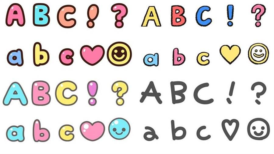 LINE App新增四頁多彩的英文文字與特殊符號,讓你能透過輸入文字表達更貼切的表達你的心情。(圖/翻攝LINE官方帳號)