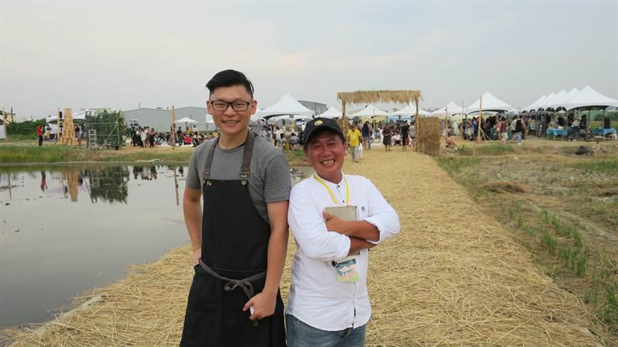 在彰化市經營義式餐廳的葉佳祥(右)號召法式餐廳主廚林昆霈等人參與農恬好食派對活動,希望透過田園野餐音樂會、創意市集,呈現不一樣的農村生活樣貌,也藉此呼籲更多年輕人返鄉。(謝瓊雲攝)
