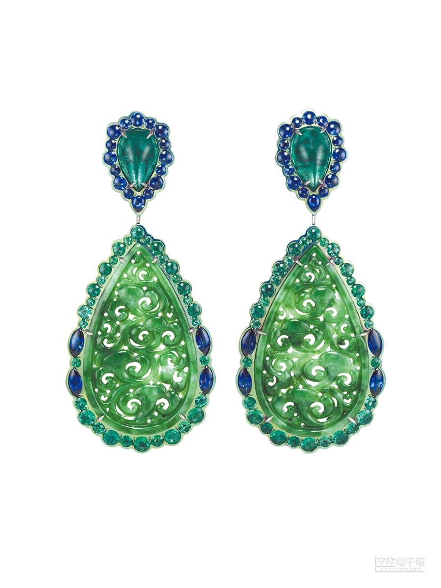 3. Chopard Silk Road系列高級珠寶大膽將東方色彩濃厚的玉石等材質引入作品當中,細膩刻劃出華麗雅緻韻味。(Chopard提供)