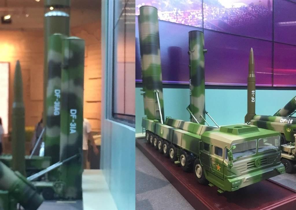 中國解放軍8月1日即將慶祝建軍90周年,但近日已首度展出東風-31AG新型戰略彈道飛彈模型。(左圖)右二為東風-31AG飛彈,右為東風-31A飛彈。(右圖)飛彈發射車模型上的東風-31AG(左)與東風-31A飛彈(左二)。(圖/網路)