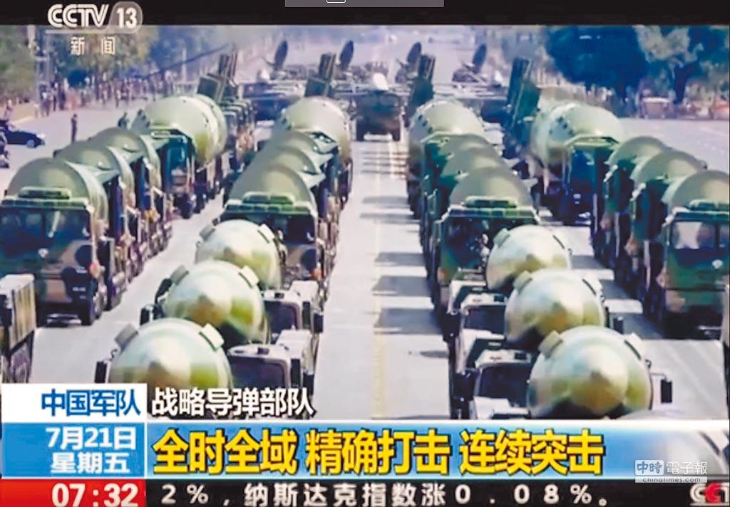大陸央視推出《中國軍隊》火箭軍「戰略飛彈」部隊系列報導。(截自央視)
