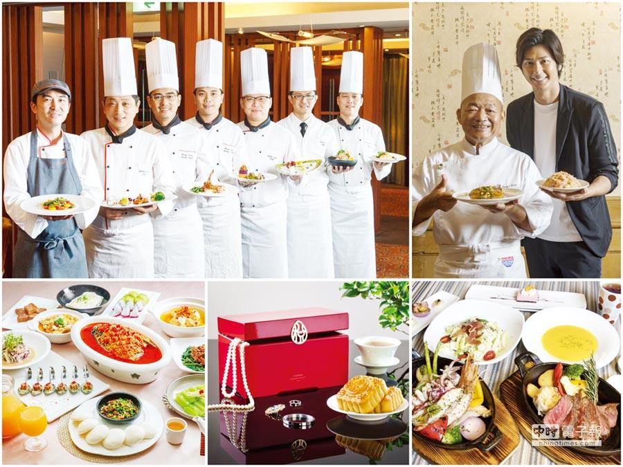 有型男代言、飯店名廚秀廚藝、還有各大飯店推出優惠餐券,甚至中秋月餅已早鳥搶市,讓台灣美食展熱鬧非凡。圖/觀光協會、六福、大地、君悅、國泰商旅等提供