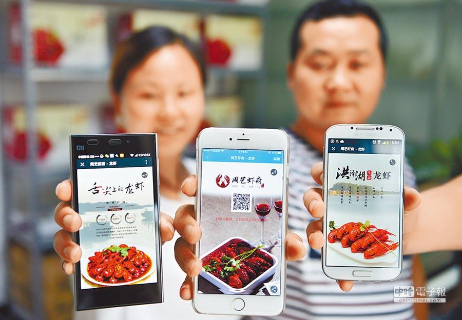 江蘇洪澤縣創客在網路行銷小龍蝦。(新華社資料照片)
