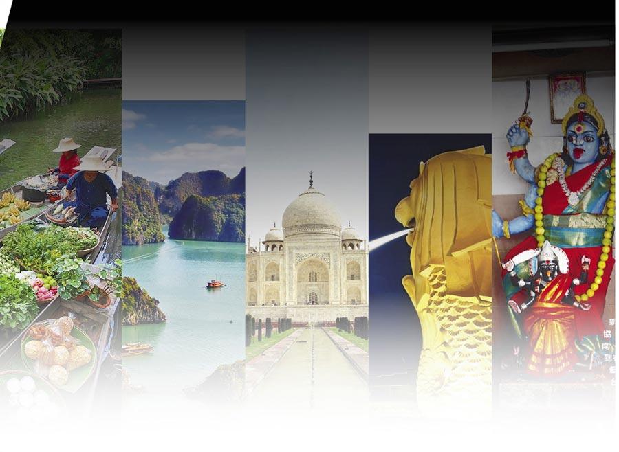 新南向政策旨在全方位發展與東協、南亞及紐澳的關係,泰國、越南、印度、新加坡、馬來西亞(左到右)等國都是交流合作的對象,但屢傳「拒簽」事件,讓人憂心台灣外交困境。(本報資料照片)